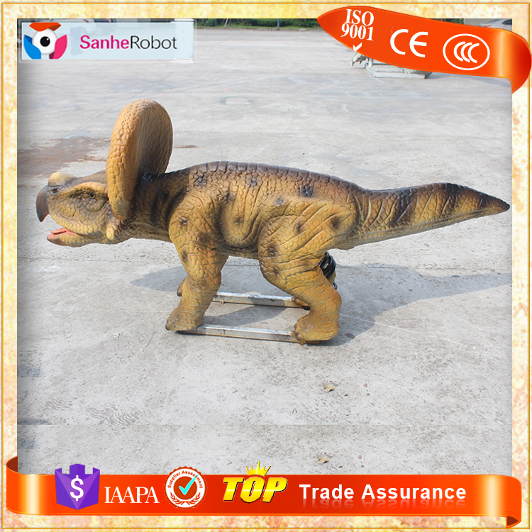 SH-S036 Outdoor small size animatronic robot dinosaur rideable car for kids