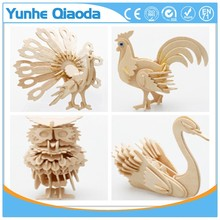 Cheap wood 3D puzzle with design of animals canrs and house