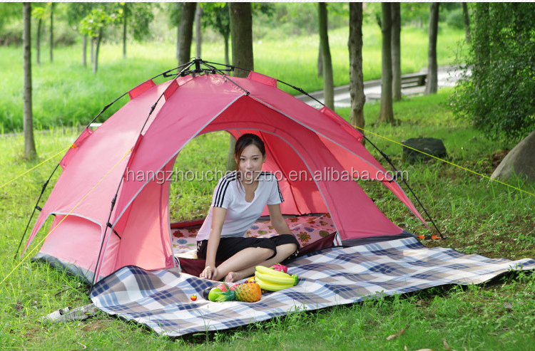 Factory Price Automatic Hydraulic Spring Style Double Layer 3-4 Person Sunscreen Camping Tent, TXZ-0002,Four Seasons Tent