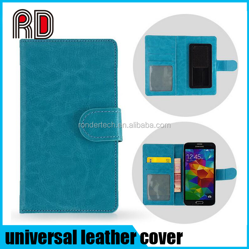 Slider universal smart phone wallet style leather case, flip stander pu leather cover for all mobile phone