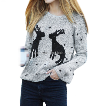 AL2866W New winter women thicken pullover lady knitted cotton sweaters christmas sweater