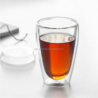 Wholesale Creative Novelty Hopside Down Bottle Durable Double Walled Borosilicate Glass Beer Mug Cup