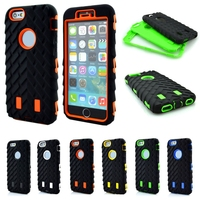 Silicone Hard Plastic Phone Cover Case For Apple iPhone 5 5G 5S 5SE Tire Type Heavy Duty Dual Layer 3 in 1 Armor Hybrid Defender