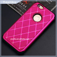 2016 New 360 degree protect case, silicone+ PC mesh case with diamond for iphone 6g/6g plus