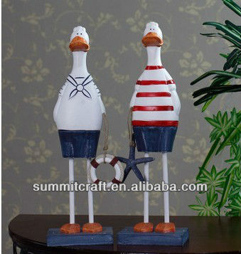 Mediterranean style decorative wood cute hand-painted couple duck