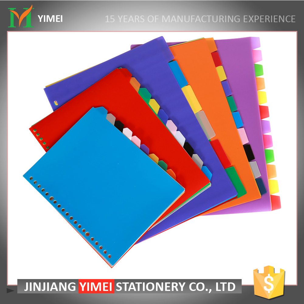 wholesale new style color paper file tab pp index divider