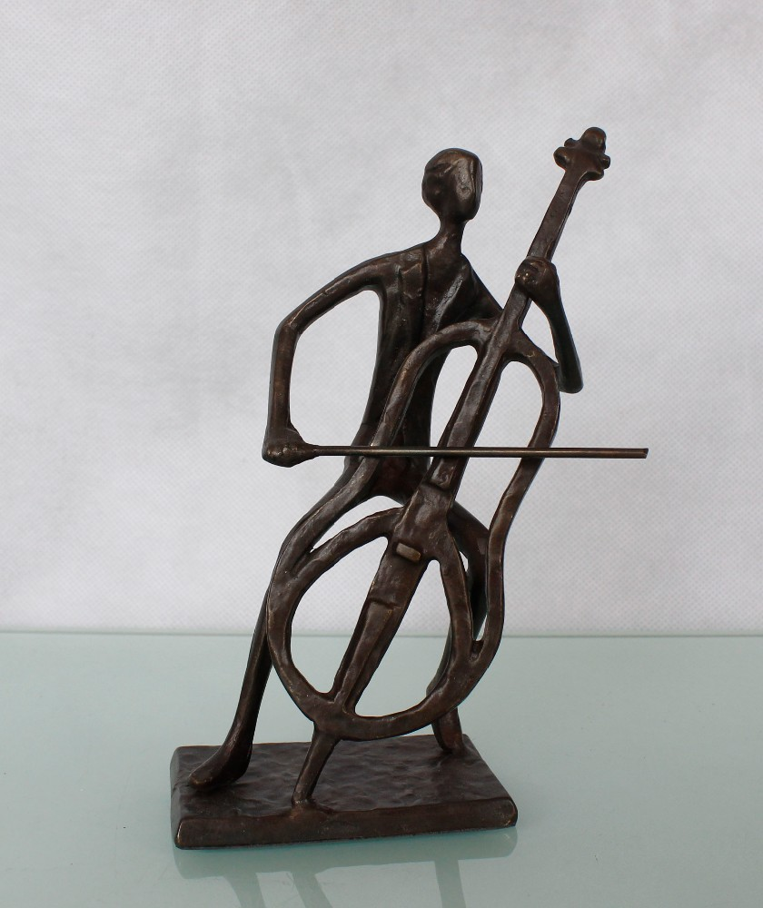 bronze violoncello music figurines