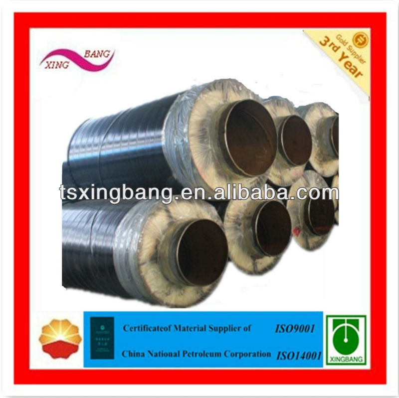 rock wool and polyurethane material insulated steam pipe