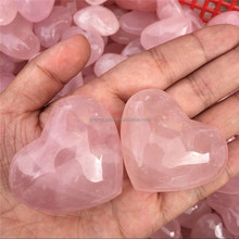 Wholesale Natural Crystal Healing Semi-precious Stone Heart Shaped Rose Quartz Carved Heart for pendant