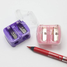 Wholesale school pupil transparent cover makeup eyebrow pencil sharpener double holes office stationery pen knife