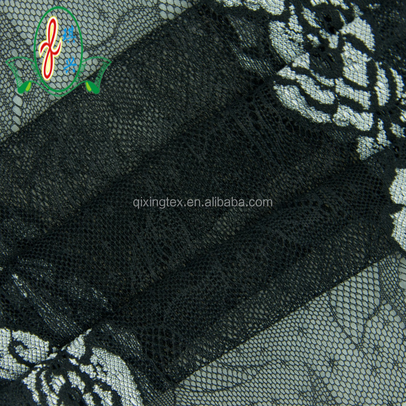 Custom Polyester Spandex Women Dress Black Lace Fabric Wholesale