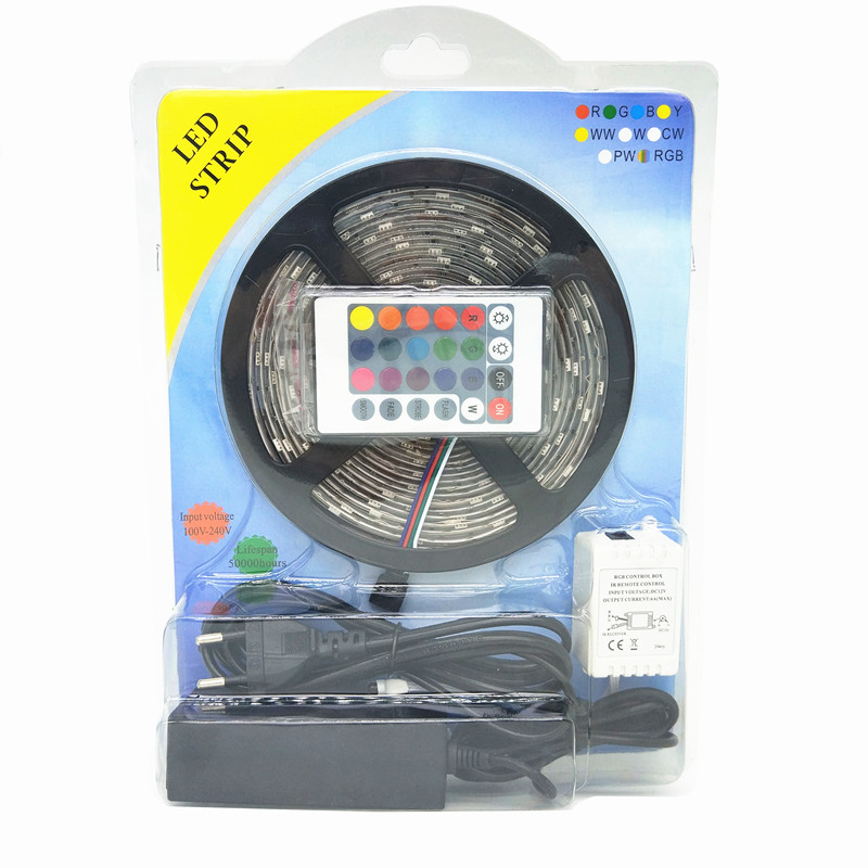 SMD2835 120leds led tape light strip kit with remote controller and power supply