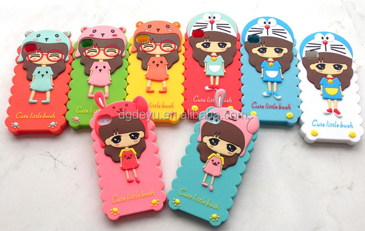 cute silicone case cover stand for mobile phone