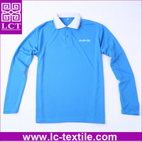supply custom logo printed polo collar 100% polyester moisture wicking plain coolmax long sleeve t shirt for sport(LCTT0335)