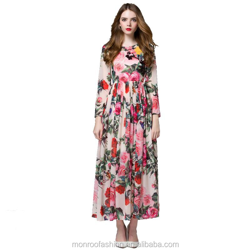 monroo New Arrival Summer Autumn Colorful Floral Print Longuette O-neck Dress Long Sleeve Maxi Women Spring Autumn Dress