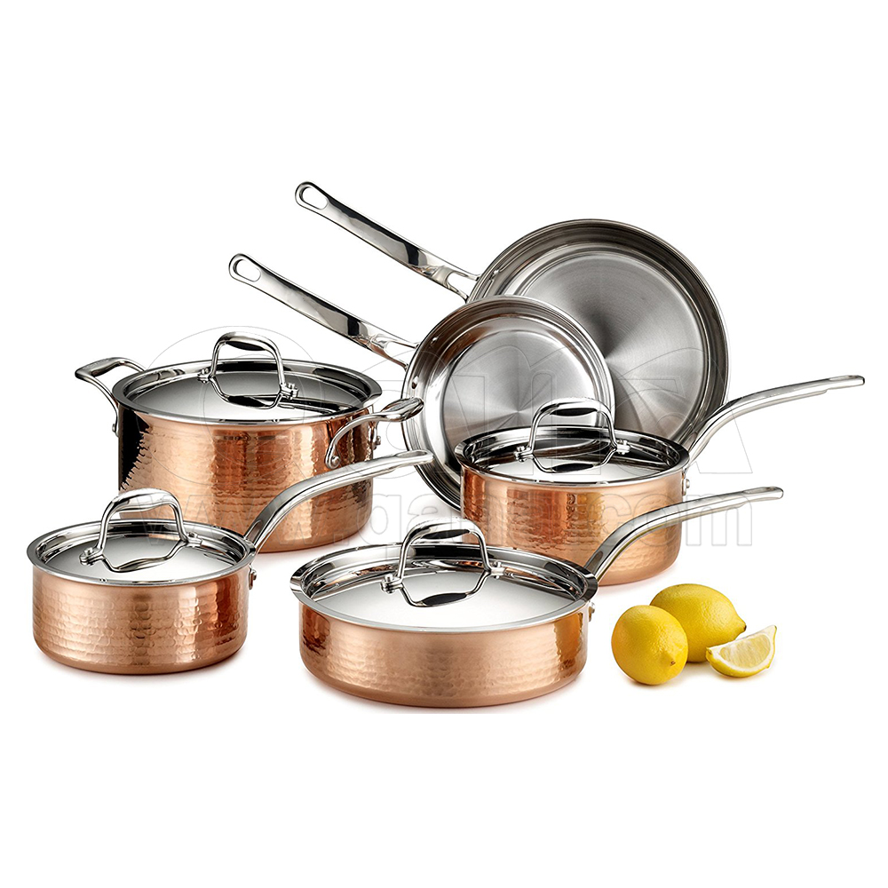 Tri-Ply Stainless 10-Piece Copper Cookware Set, cooking pot
