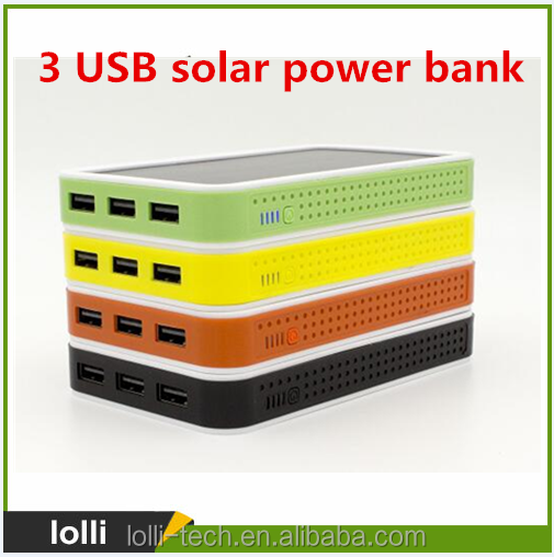 10000mah cheap solar mobile portable phone charger 3 USB