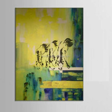 Yellow-green twilight street three zebra dog is looking for foods 100% handmade decoration oil painting in canvas