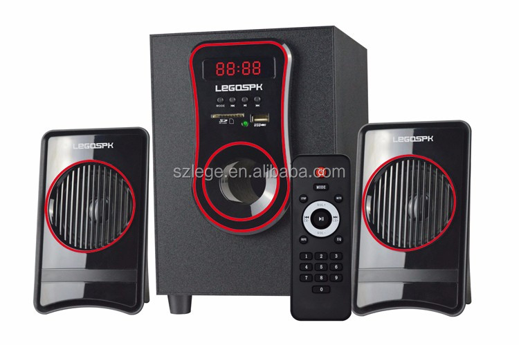 New arrival China factory manufacturing 2.1 speaker withusb sd fm remote for computer tv dvd