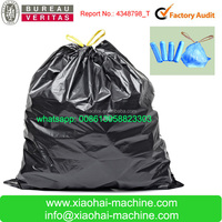 Plastic Poly Draw Handle Big Garbage Bag Making Machine To Make Ribbon Through Continuous Winding Bag