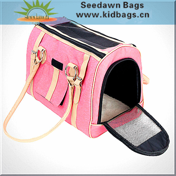 Tote Handle Handbag Style Leather Trim Puppy Cat Pet Carrier Cage Bag with Breathable Mesh Panels for Small Animals