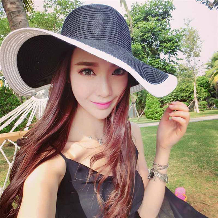 Straw panama fashion wide brim hat fashion floppy ladies dress hats wholesale