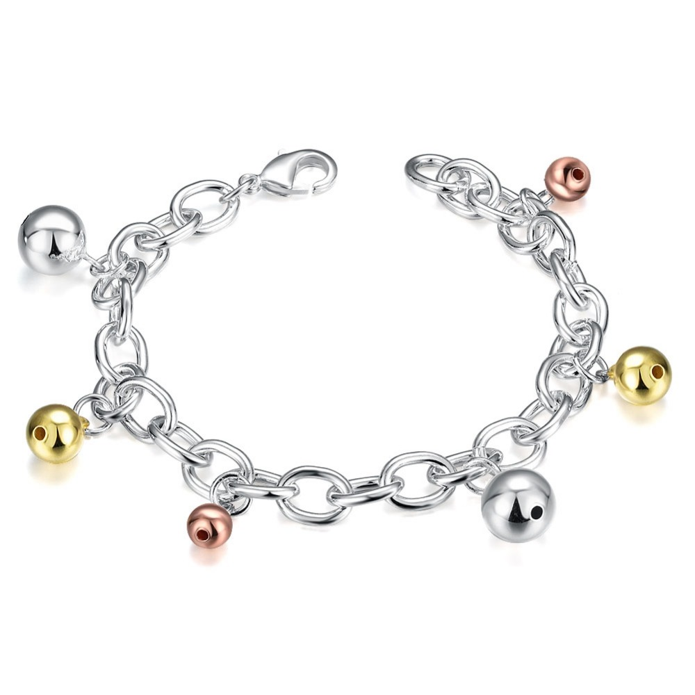 SJ Personalized High Quality Colorful Bell Shape Women Solid Copper Silver Plating Chain Charm Ball Bracelet