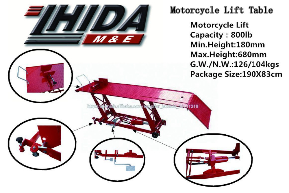 CE Passed Good quality hydraulic car used motorcycle lifts 800lb