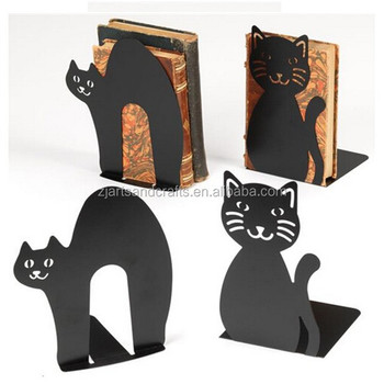 Metal Black Cheap Tabletop Cute Cat Shape Bookend