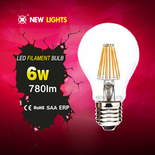 Factory price daylight smd led bulb lights E27 6W A60 led filament bulb