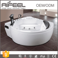 Freestanding acrylic one person massage whirlpool bathtub bathroom tub with tv waterproof