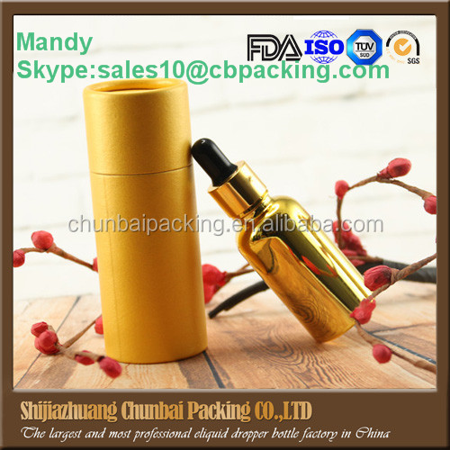 Wholesales e juice electroplate gold 30ml glass bottle for e liquid with gold childproof dropper