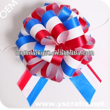 Large Red White Blue Patriotic POM POM Pull Bow