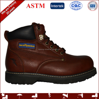 work footwear with genuine leather and steel toe