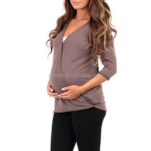 Breastfeeding Designs Clothing Criss Cross Maternity and Nursing Wrap Tunic Tops For Wholesale Online Shopping