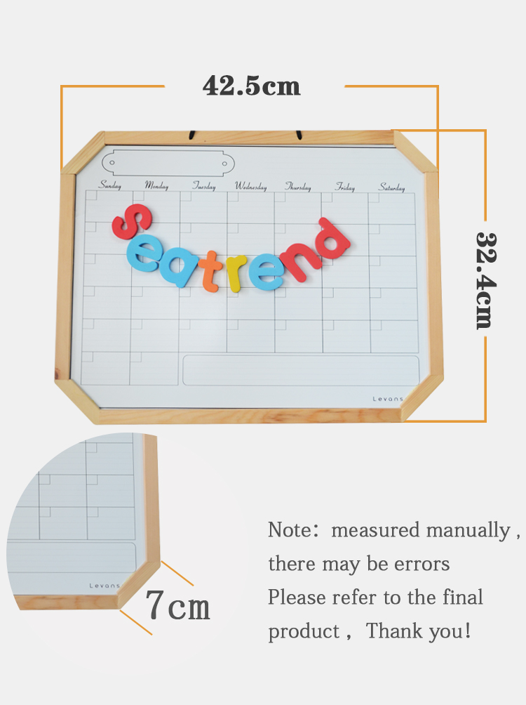 Seatrend Dry Erase Magnetic Monthly Planner Weekly Memo Wooden Board