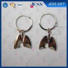 Fashion Custom Made Human Lung Shaped Metal Key Chains On Wholesale