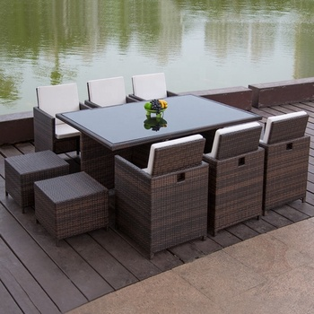 Yizhou outdoor furniture foldable 6 seater rattan dining table garden furniture, table garden outdoor, garden glass table