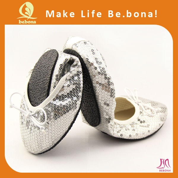2015 wholesale pretty ladies silver fold up ideal ballerina shoes
