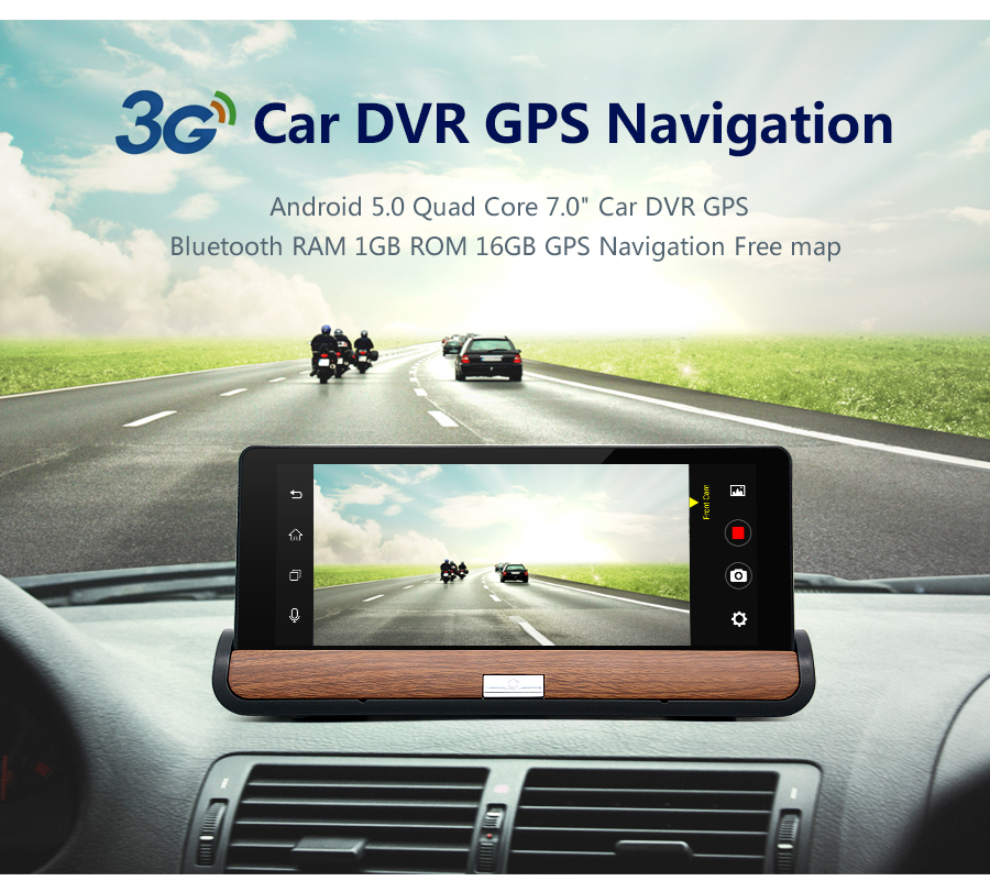 "7"" 3G Dual Camera Car DVR GPS Navigation Bluetooth RAM 1GB ROM 16GB Free map"