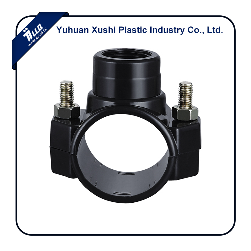 Plastic irrigation soft pipe PP PE 4 bolts Clamp Saddle