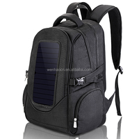 Black custom made fashion outdoor backpack with solar panel on front
