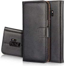 Genuine Real Leather Wallet Case For Samsung Galaxy S9 Mobile Phone Cover