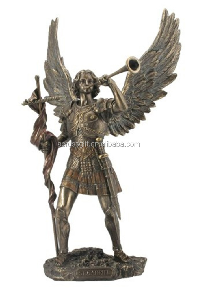 Personalized Handmade Color Painted Decorative Resin Archangel Figurine,Bronze Finished