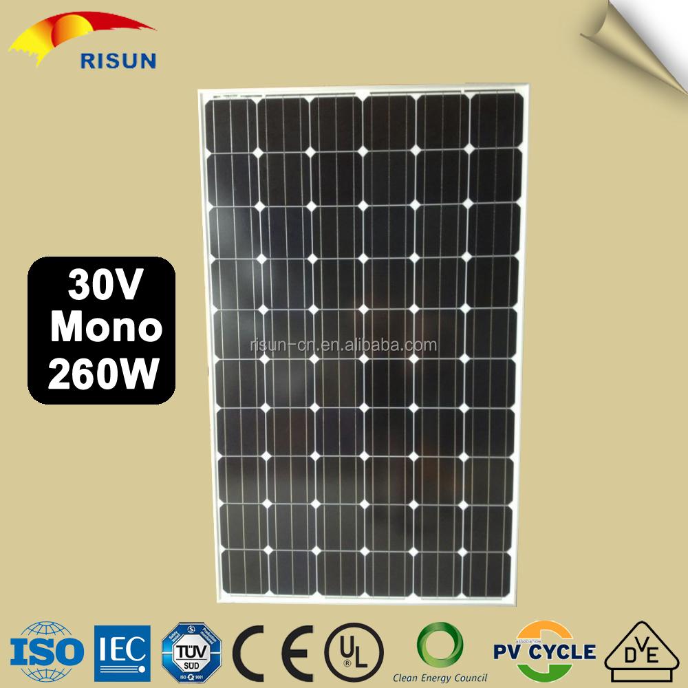 Maximum Ratings 10 amp 1000v Mono Crystal Solar Panel 220W / 230W / 240W / 250W / 260W