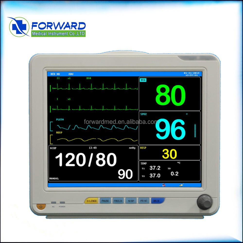 CE Approved portable Patient Monitor 12.1 inch multi Parameter ECG, NIBP, SPO2, RESP, PR