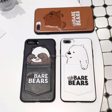 Cute Pocket Bare Bears Leather Phone <strong>Case</strong> for iPhone 8 8 Plus 7 7 Plus X Soft TPU Cover