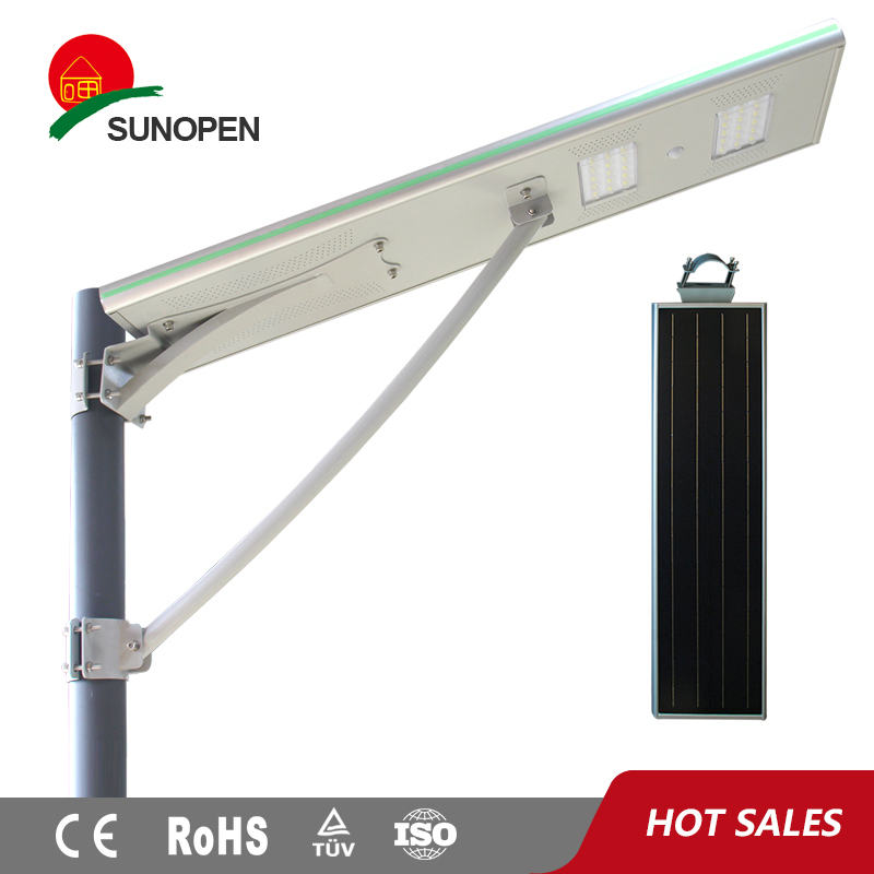 China newest solar led street light outdoor 40 watt compact LiFepo4 battery mono solar panel