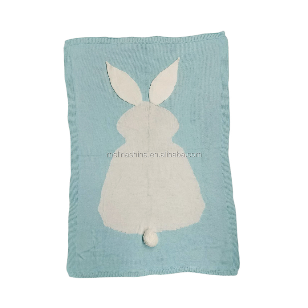 Monogrammed Puffy Tail and Long Ears Easter Bunny Knit Blanket