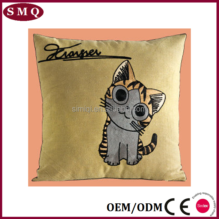 Animal embroideried ostrich wedge pillow
